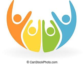 logo, szczęśliwy, ludzie