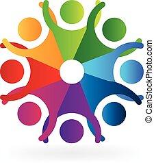 logo, szczęśliwy, spotykający zaludniają