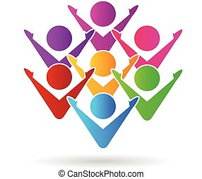 logo, szczęśliwy, teamwork, barwny, ludzie