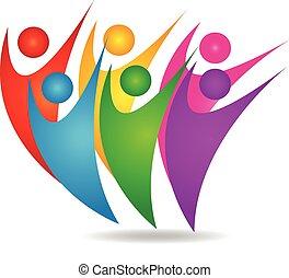 logo, szczęśliwy, teamwork, wzmacniacz