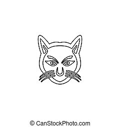 logo, tête, chat, vecteur, illustration