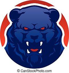 logo, tête, moderne, ours