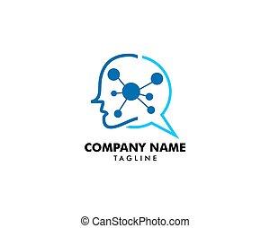 logo, tête, molécule, humain, icône