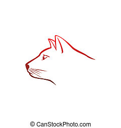 logo, tête, rouges, chat