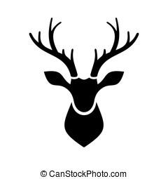 logo, tête, vecteur, cerf, icône