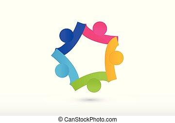 logo, team, holdingshanden, samenwerking, en, portie, mensen