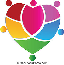 logo, team, mensen, creatief, hart