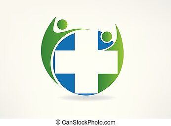 Logo team with a medical symbol
