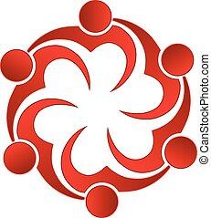 logo, teamwork, älska hjärta