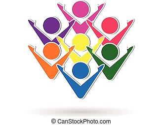 logo, teamwork, barwny, handlowy