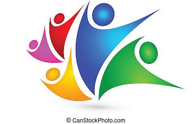 logo, teamwork, begreb, firma