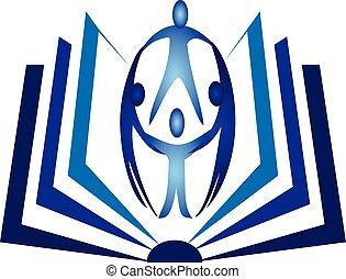 logo, teamwork, boek