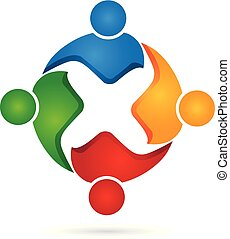 Logo teamwork business people unity partners friendship in a hug