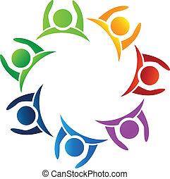 logo, teamwork, do góry, siła robocza