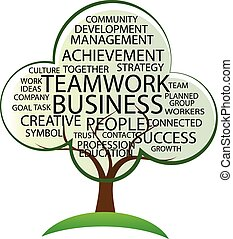 logo, teamwork, drzewo