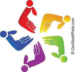 logo, teamwork, färgad, räcker