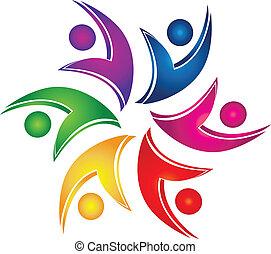 logo, teamwork, figuren, helpen, swooshes