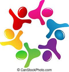 logo, teamwork, figuren, mensen