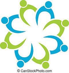 logo, teamwork, firma