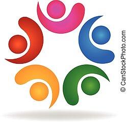 Logo Teamwork friendship concept