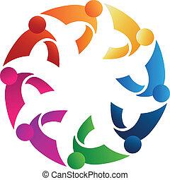 logo, teamwork, gårdsbruksenheten räcker