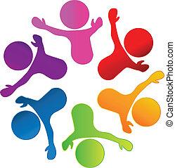 logo, teamwork, gemeenschap, mensen