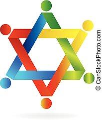 logo, teamwork, gwiazda, ludzie