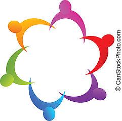 logo, teamwork, hånd ind hånd