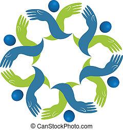 logo, teamwork, handlowy wręcza
