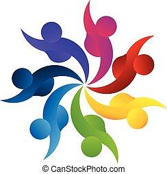 logo, teamwork, handlowy zaludniają