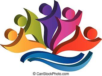 Logo teamwork happy partners business