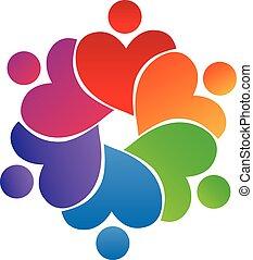 Logo teamwork heart shape