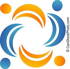 logo, teamwork, hjälpreda