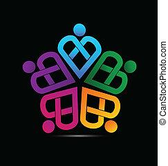 logo, teamwork, hjerte, vektor