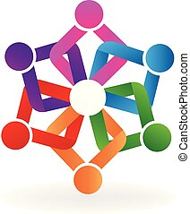 Logo teamwork holding hands