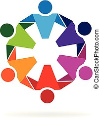 Logo teamwork hug community people
