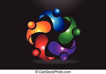Logo teamwork hug partners friendship unity business people