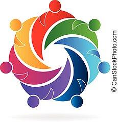 Logo teamwork hugging people