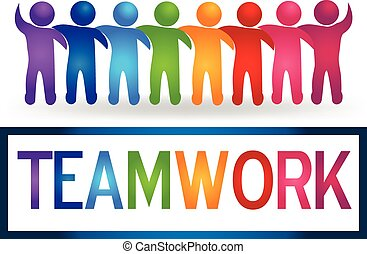 Logo Teamwork hugging people - Vector Teamwork hugging...