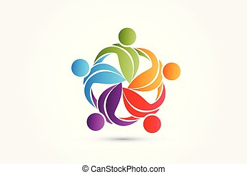 Logo teamwork leafs life nature people