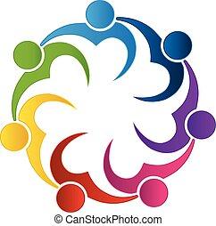Logo teamwork love heart