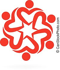 Logo teamwork love heart