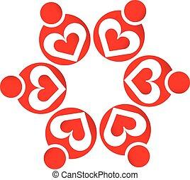 Logo teamwork love hearts