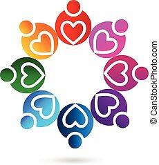 Logo teamwork love hearts - Teamwork heart love people logo...