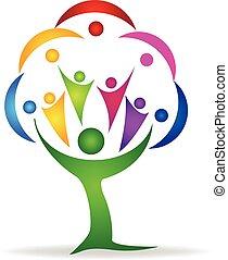 logo, teamwork, ludzie, drzewo