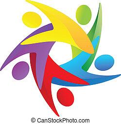 logo, teamwork, mensen, verscheidenheid