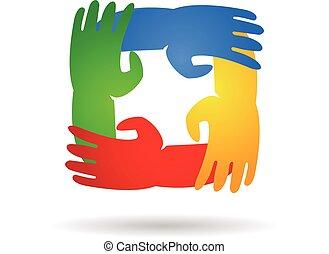 logo, teamwork, omkring, räcker