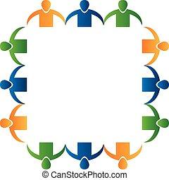 Logo teamwork people holding hands