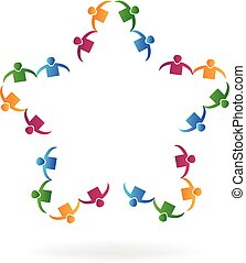 Logo teamwork people holding hands star shape