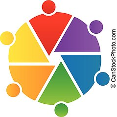 Logo teamwork people in a circle